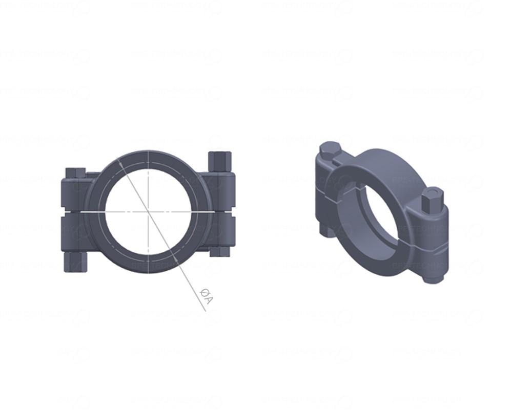 BPE-HPClamp voor 25,40 en 38,10x1,65mm buis