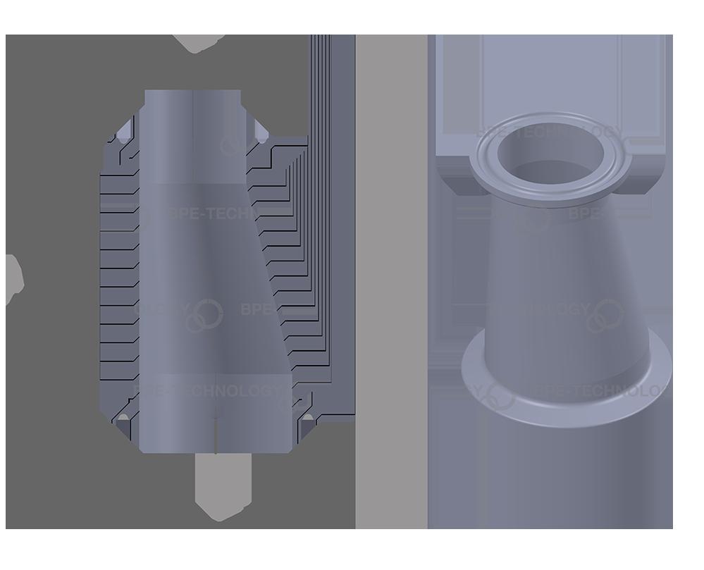 DT-21A (lang) Excentrische Reducer 25,40x1,65/19,05mm CxC SF1