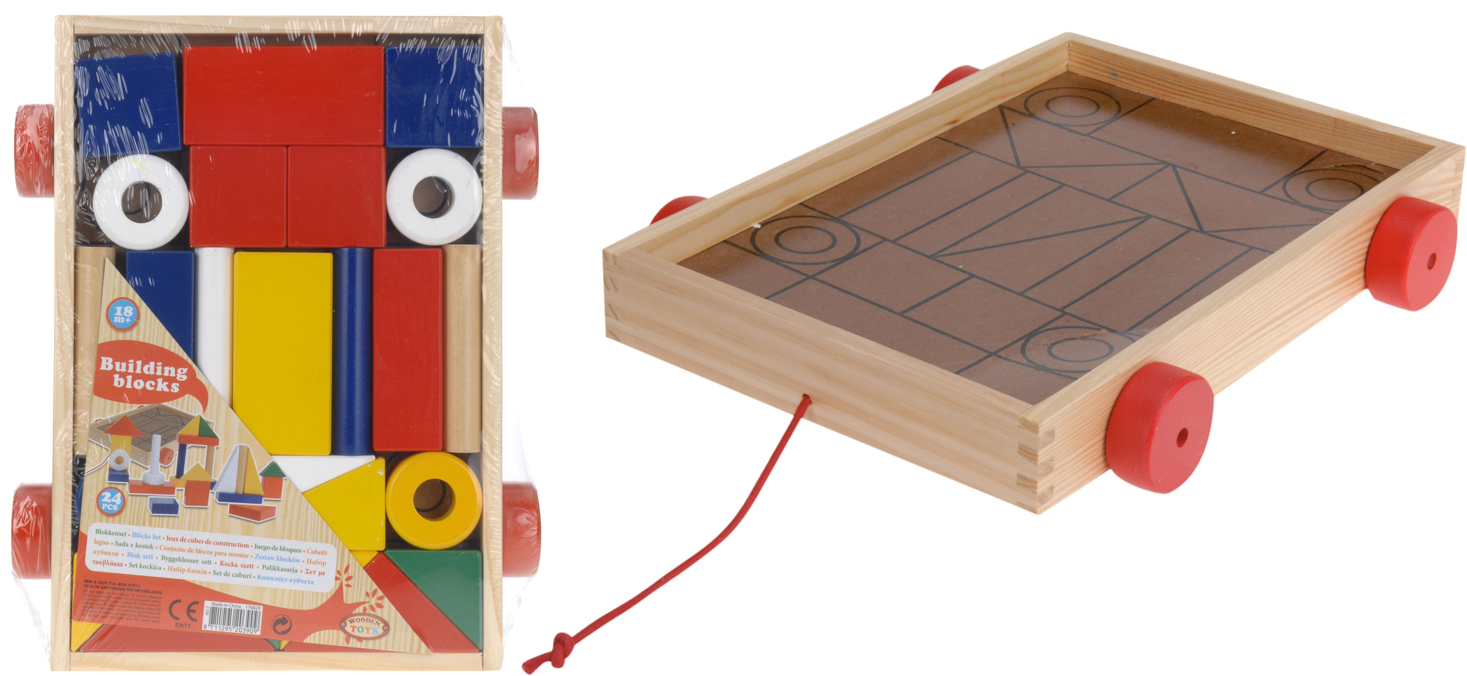 Dagaanbieding - Bouwblokken in houtenkar 24 stuks dagelijkse koopjes