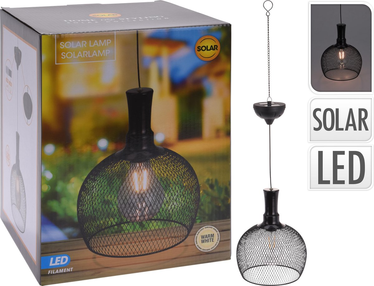 Solar buiten hanglamp - Zwarte metalen industriële look